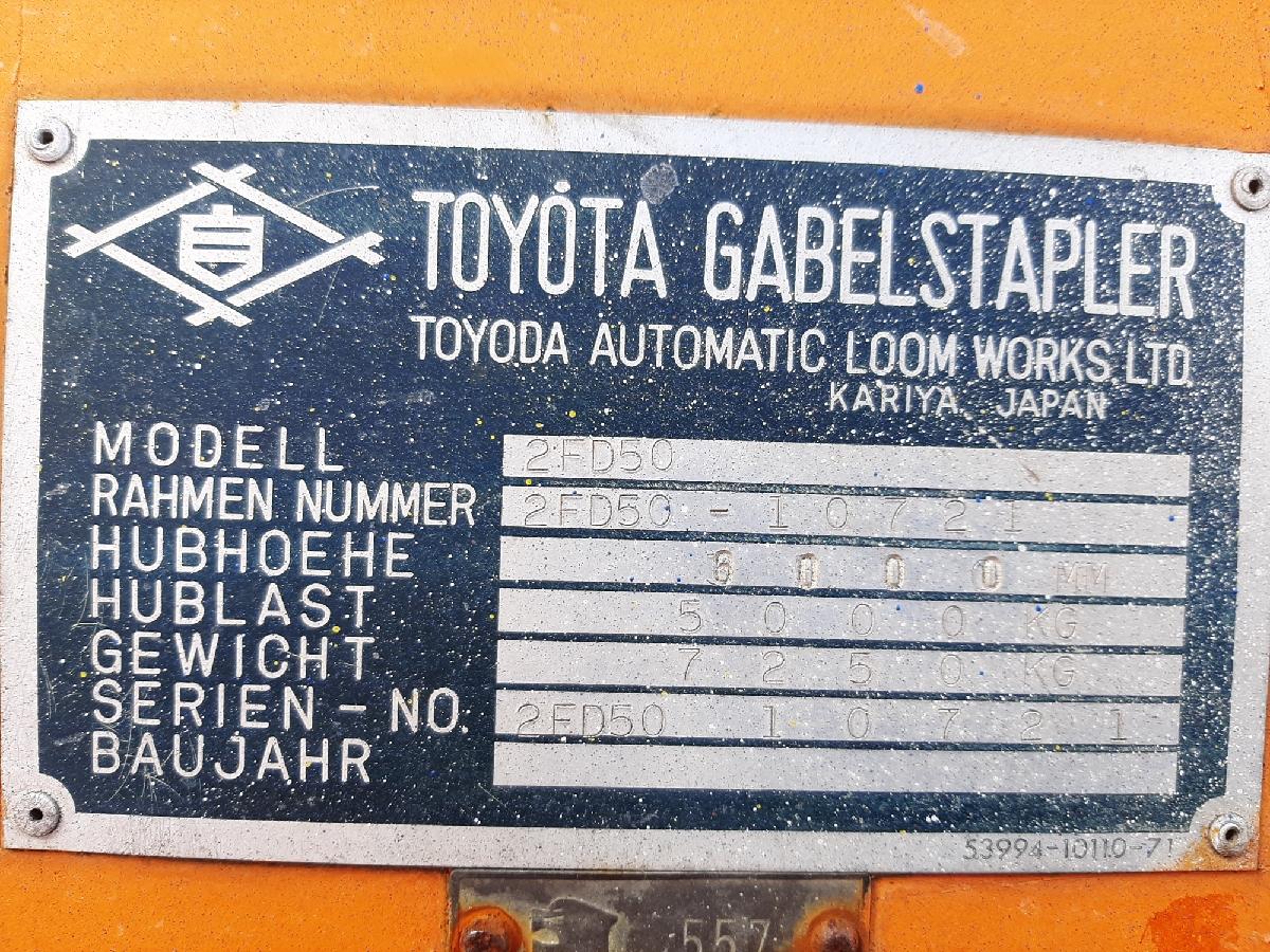 Toyota 2FD50, 5 Tons diesel. full